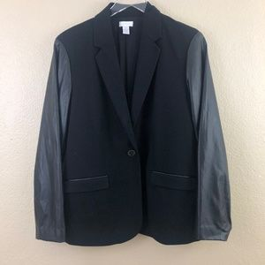Chico's One Button Blazer with Faux Leather Sleeve